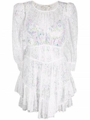 Платье-трапеция с оборками и вышивкой For Love And Lemons. Цвет: белый
