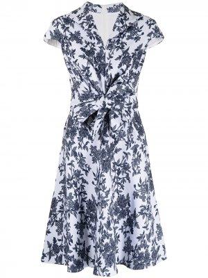 Жаккардовое платье миди Akira Tadashi Shoji. Цвет: синий