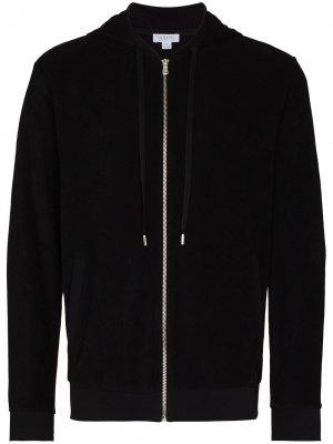 Куртка на молнии с кулиской Sunspel. Цвет: черный