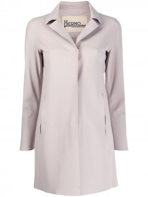 Однобортное пальто с заостренными лацканами Herno. Цвет: нейтральные цвета