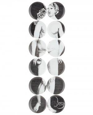 Набор из 12 тарелок Fornasetti. Цвет: серый