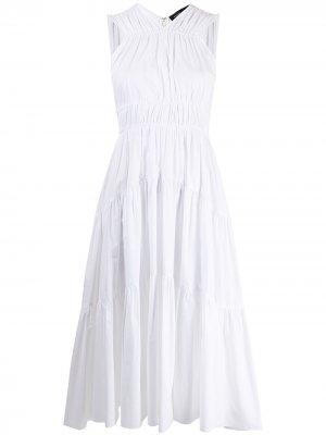 Ярусное платье миди Proenza Schouler. Цвет: белый
