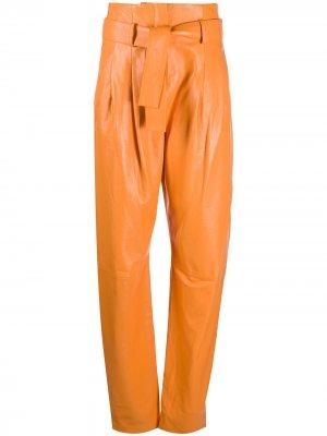 Зауженные брюки с завышенной талией Wandering. Цвет: оранжевый