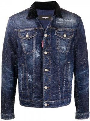 Джинсовая куртка с кристаллами Dsquared2. Цвет: синий
