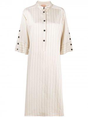Полосатое платье-рубашка длины миди Nude. Цвет: нейтральные цвета