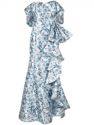 Платье с открытыми плечами и оборками Badgley Mischka. Цвет: синий