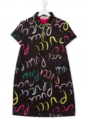 Платье с воротником поло и логотипом Emilio Pucci Junior. Цвет: черный