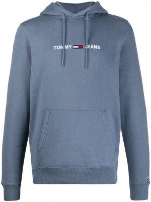 Худи в рубчик с вышитым логотипом Tommy Jeans. Цвет: синий