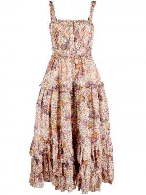 Платье миди без рукавов с цветочным принтом Ulla Johnson. Цвет: нейтральные цвета