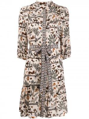 Платье с принтом и завязками Saloni. Цвет: нейтральные цвета