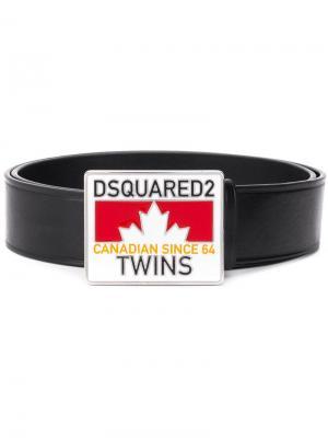 Ремень с логотипом на пряжке Dsquared2. Цвет: черный