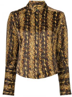 Рубашка с эффектом змеиной кожи Alexa Chung. Цвет: коричневый