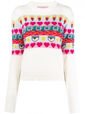 Джемпер вязки интарсия с логотипом Chiara Ferragni. Цвет: нейтральные цвета