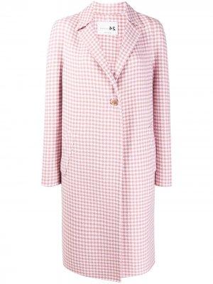 Пальто миди в ломаную клетку Manzoni 24. Цвет: розовый