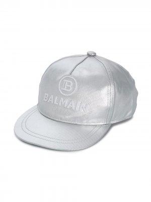 Кепка с вышитым логотипом Balmain Kids. Цвет: серебристый