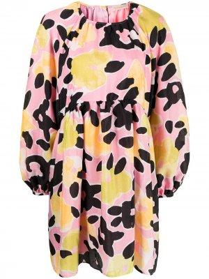 Расклешенное платье мини с цветочным принтом Stine Goya. Цвет: разноцветный
