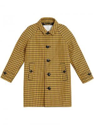 Пальто в клетку Burberry Kids. Цвет: желтый