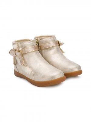 Bow strap ankle boots UGG Kids. Цвет: золотистый