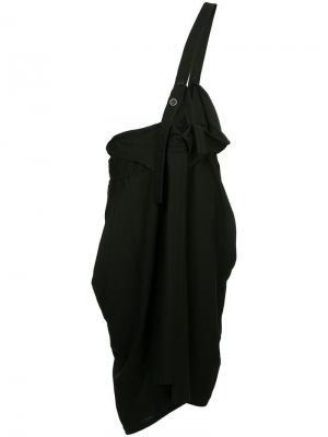 Юбка-миди с подтяжкой на одно плечо Y's. Цвет: черный