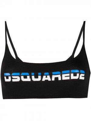 Бюстгальтер с логотипом Dsquared2. Цвет: черный