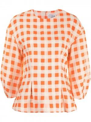 Блузка в клетку Victoria Beckham. Цвет: оранжевый