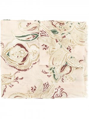 Кашемировый шарф с принтом пейсли Colombo. Цвет: коричневый