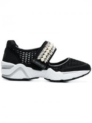 Сетчатые кроссовки с отделкой камнями Suecomma Bonnie. Цвет: черный