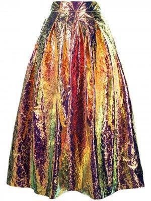 Пышная юбка с голографическим эффектом Maticevski. Цвет: золотистый