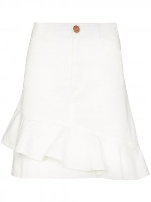 Джинсовая юбка мини с оборками See by Chloé. Цвет: белый
