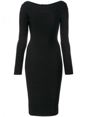 Приталенное платье миди Hervé Léger. Цвет: черный