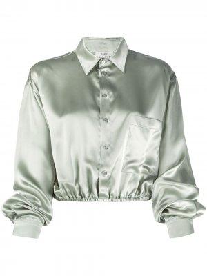 Рубашка с длинными рукавами и эффектом металлик Forte. Цвет: зеленый