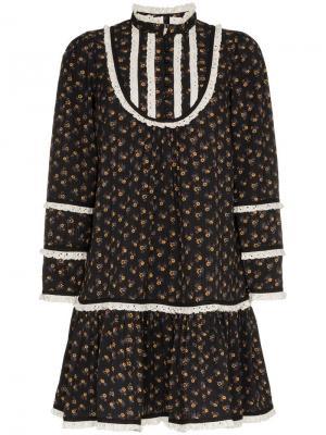 Платье мини с вышивкой ришелье и цветочным принтом By Timo. Цвет: черный