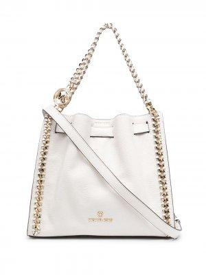 Большая сумка на плечо Mina из зернистой кожи Michael Kors. Цвет: белый