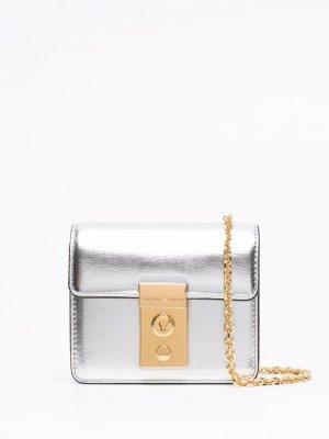 Поясная сумка с эффектом металлик Emporio Armani. Цвет: серебристый