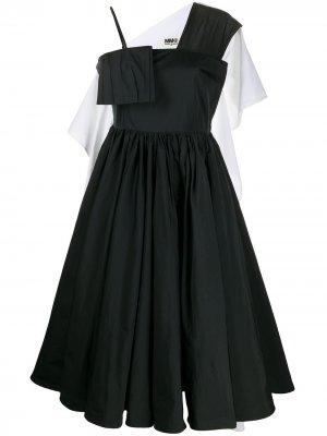 Расклешенное платье миди MM6 Maison Margiela. Цвет: черный