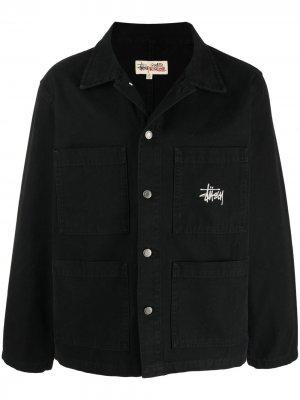 Куртка-рубашка с вышитым логотипом Stussy. Цвет: черный