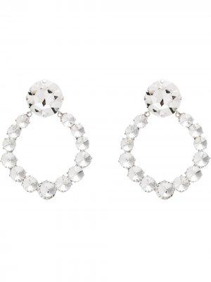 Серьги-кольца с кристаллами Alessandra Rich. Цвет: серебристый