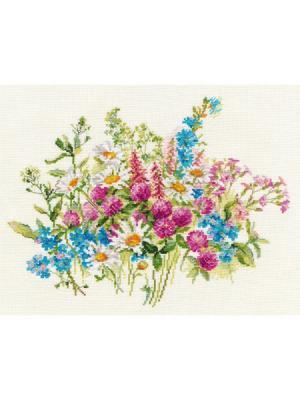Набор для вышивания Клевер и ромашки 29х22 см , Алиса. Цвет: бежевый, белый, голубой, зеленый, фиолетовый