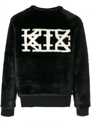 Толстовка из искусственного меха с логотипом KTZ. Цвет: черный