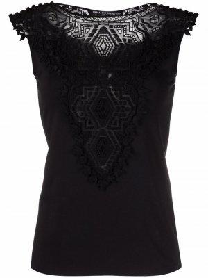Блузка без рукавов с кружевом Ermanno Scervino. Цвет: черный