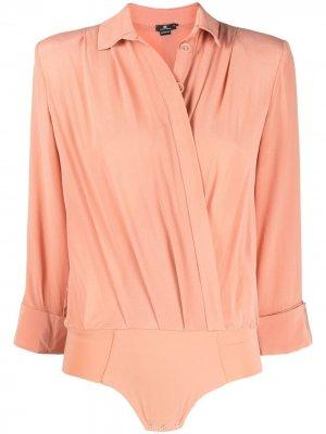 Боди-рубашка с укороченными рукавами Elisabetta Franchi. Цвет: розовый