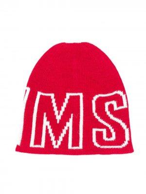 Шапка бини с логотипом Msgm Kids. Цвет: красный