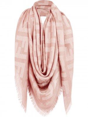 Жаккардовая шаль с монограммой FF Fendi. Цвет: розовый