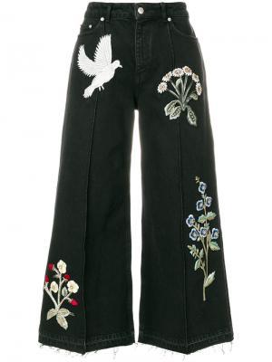 Широкие джинсы с нашивками Alexander McQueen. Цвет: черный