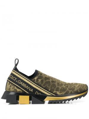 Леопардовые кроссовки-носки с люрексом Dolce & Gabbana. Цвет: золотистый