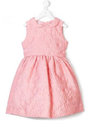 Платье с жаккардовым узором Bubble Flower Oscar De La Renta Kids. Цвет: розовый