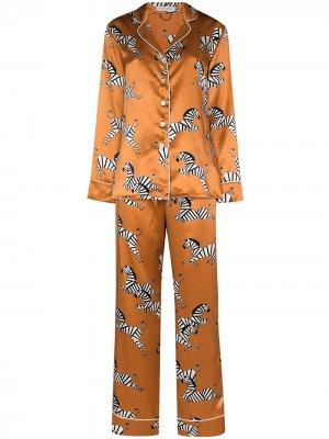 Пижама с зебровым принтом Olivia von Halle. Цвет: коричневый