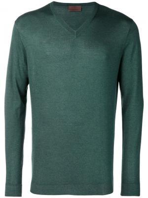 Тонкий вязаный свитер с V-образным вырезом Altea. Цвет: зеленый