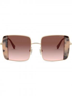 Солнцезащитные очки Noir в квадратной оправе Miu Eyewear. Цвет: розовый