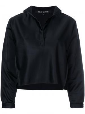 Укороченная рубашка с открытой планкой Ter Et Bantine. Цвет: черный